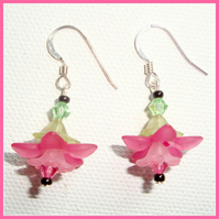 Rose Pink Flower Drops Earrings