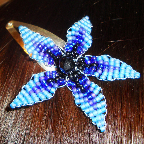 Blue Twilight Star Flower Hair Grip