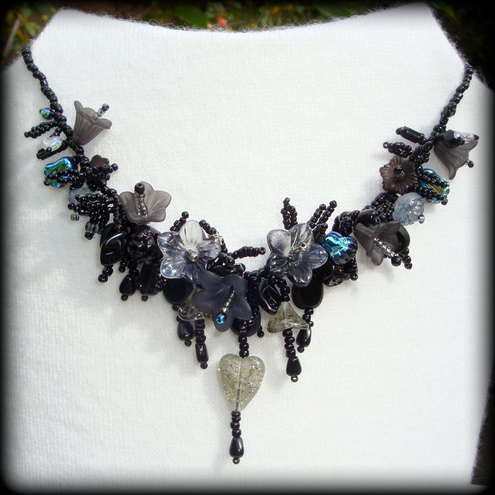 Gothic Black Blossom Necklace