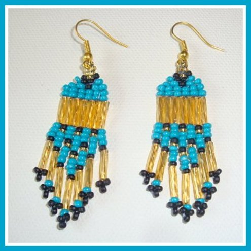 Turquoise Cleopatra Beaded Earrings