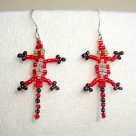 Red Beaded Lizard Earrings