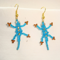 Turquoise Lizard Earrings Beaded
