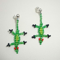 Green Lizard Earrings