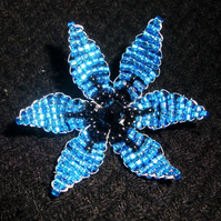 Electric Blue Flower Brooch