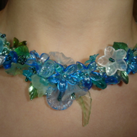 Spring Blue Garland Necklace