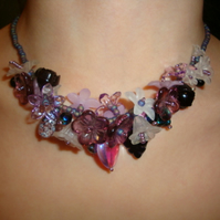 Purple Helebore Garland Necklace