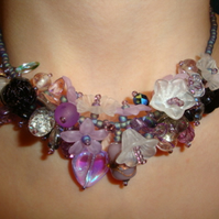 Purple Helebore Blossom Garland Necklace
