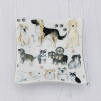 Dog Lovers Decorative Dish - Trinket Table Puppy Pet Lovers - Fused Glass