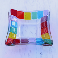 Rainbow Trinket Dish Home Decor Unique Gift Bright Multicoloured Fused Glass