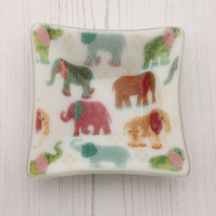 Multicoloured Elephants Decorative Dish - Trinket Sweets Nibbles Fused Glass