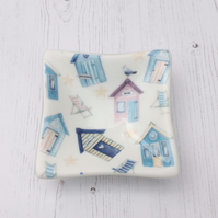 Beach Hut Deep Dish - Trinket Table Sweet Fused Glass Art, Housewarming