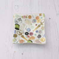 Sewing Deep Dish - Trinket Table Sweet Fused Glass Art, Gift for Crafter