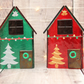 Red and Green Christmas Glass House Set with Iridescent Roof
