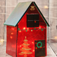 Red Christmas Glass House Set with Iridescent Roof