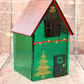 Green Christmas Glass House Set with Iridescent Roof
