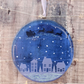 Sleigh over Village Large Window Hanger - Handmade Fused Glass Christmas Snowy