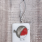 Robin Hanging Decoration on White - Christmas Tree Ornament