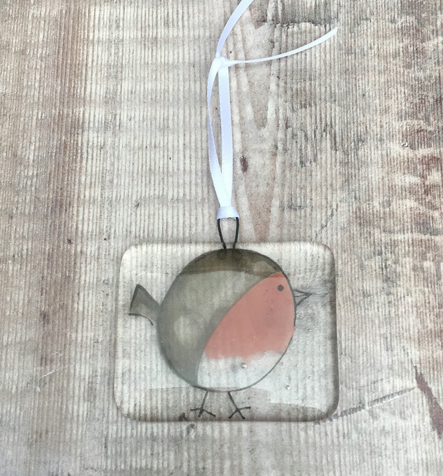 Robin Hanging Decoration on Clear - Christmas Tree Ornament