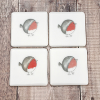 Set of Four Robin Fused Glass Coasters