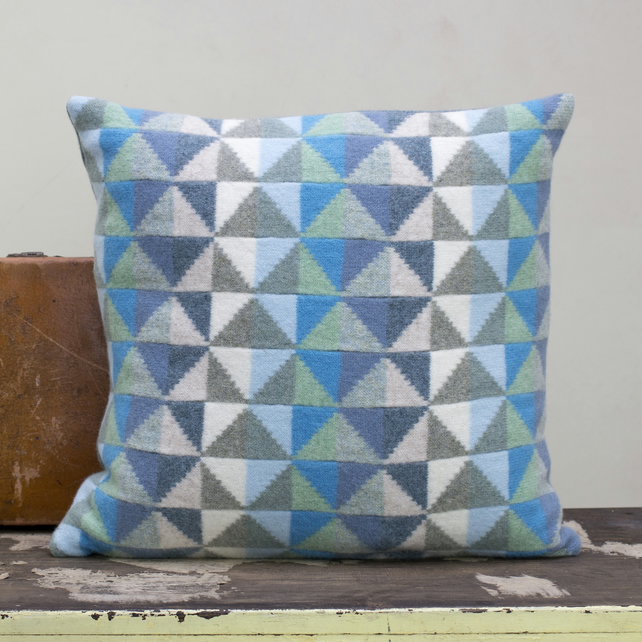 Patchwork Knitted Cushion - Folksy