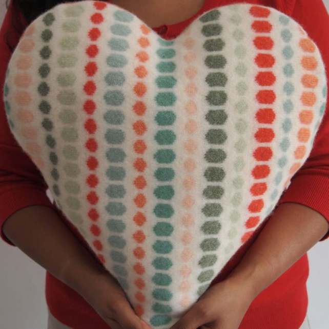 Heart Shaped Knitted Cushion