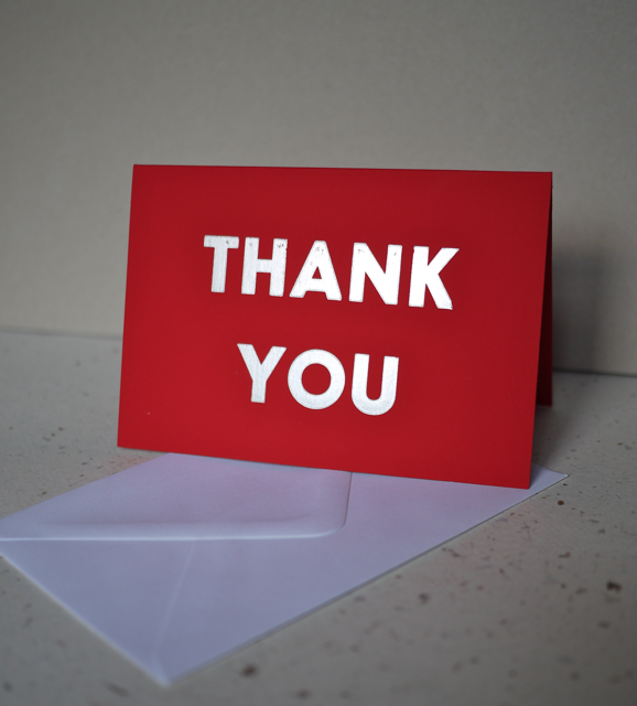 Letterpress card: 'THANK YOU'