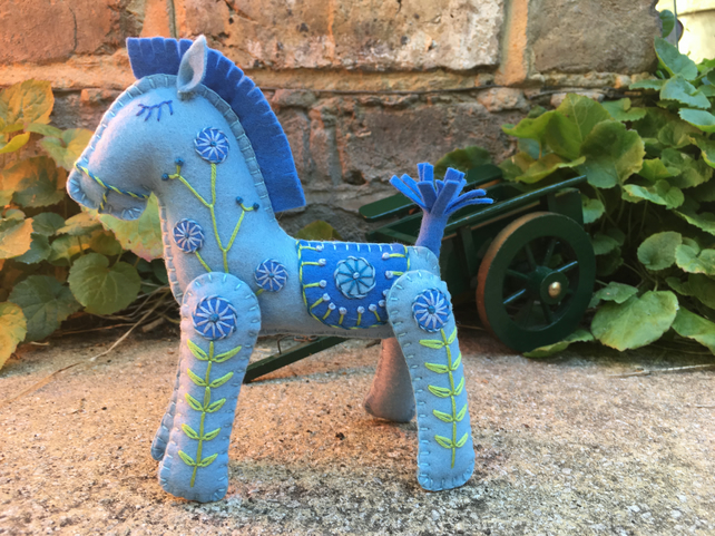 Beau the Little Blue Hand Embroidered Horse