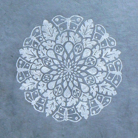 Mandala 1, Butterflies and Ladybirds, grey