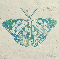 Painted Lady butterfly linocut