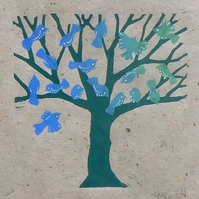 Bird Tree Lino Cut Print