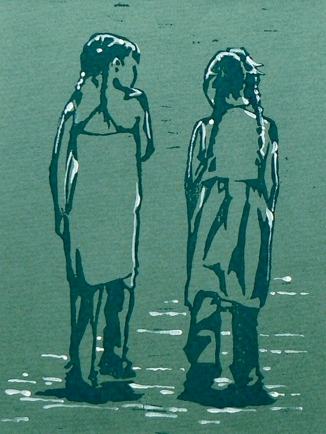 Walking and Talking linocut