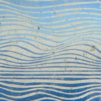 Waves linocut relief print