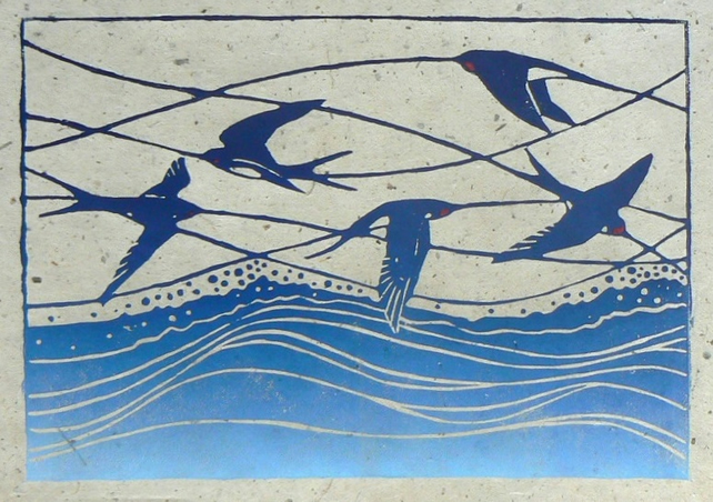 Swallows lino cut print