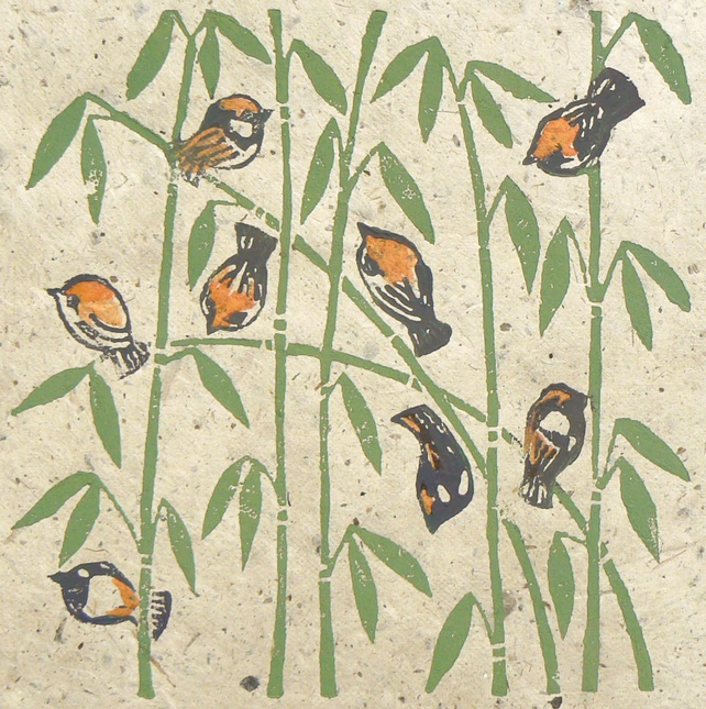 Sparrows on the Bamboo