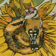 Goldfinches linocut print