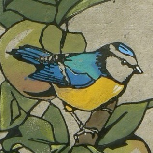 Blue Tit in the Apple Tree lino cut print