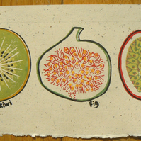 Kiwi, Fig and Passion Fruit linocut print