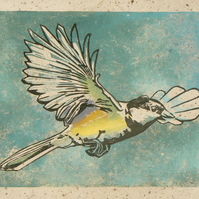 Outgoing Great Tit linocut print
