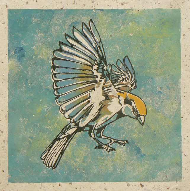 Incoming Sparrow linocut print