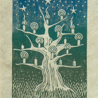 The Wishing Tree, linocut print