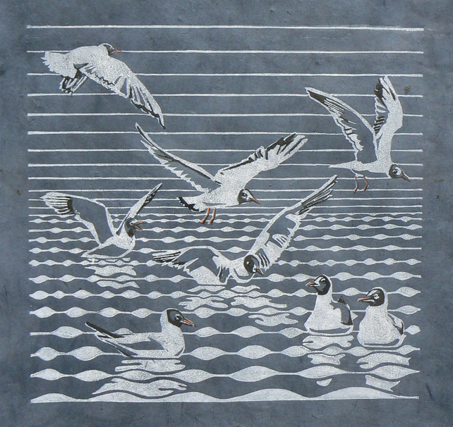 Black headed Gulls linocut print
