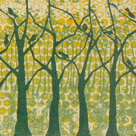 Summer Oak Wood linocut and monoprint