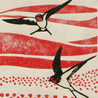 Swallows over Poppy Fields linocut print