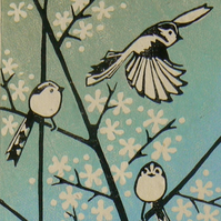 Long Tailed Tits on Blackthorn linocut print