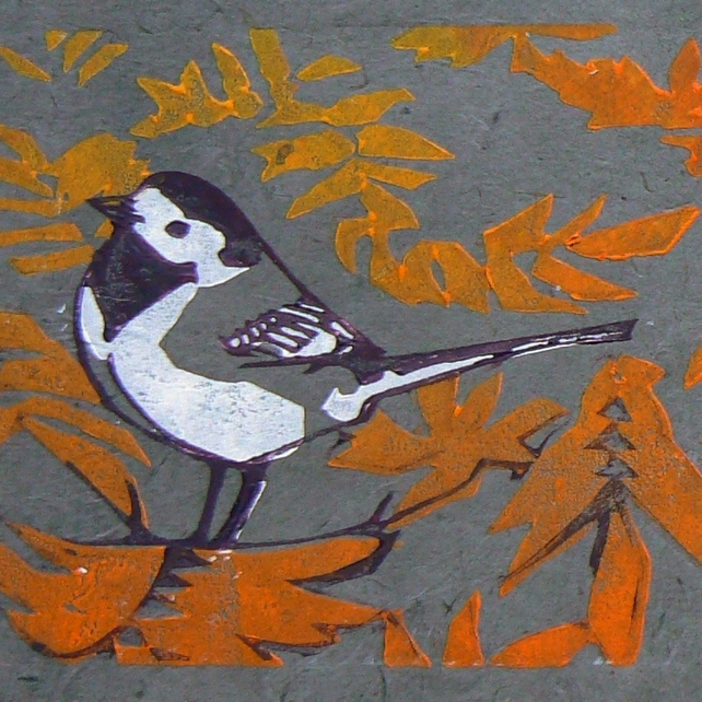 Pied Wagtails linocut print