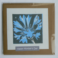 Cornflower hand printed linocut Mother's Day card