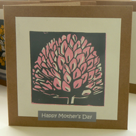 Clover hand printed linocut Mother's Day card