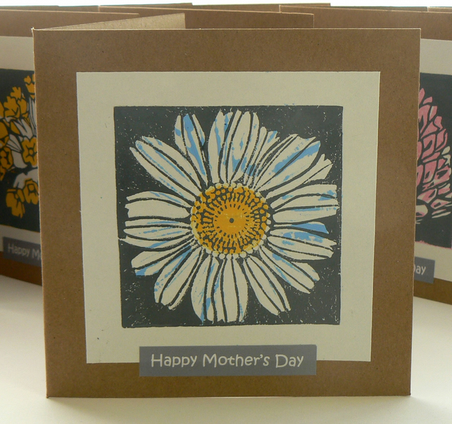 Chamomile hand printed linocut Mother's Day card