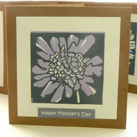 Scabious hand printed linocut Mother's Day card