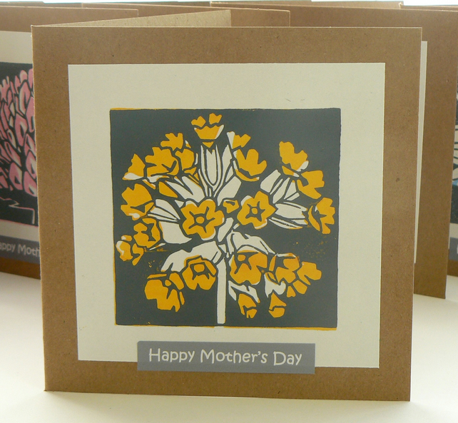 Cowslip hand printed linocut Mother's Day card